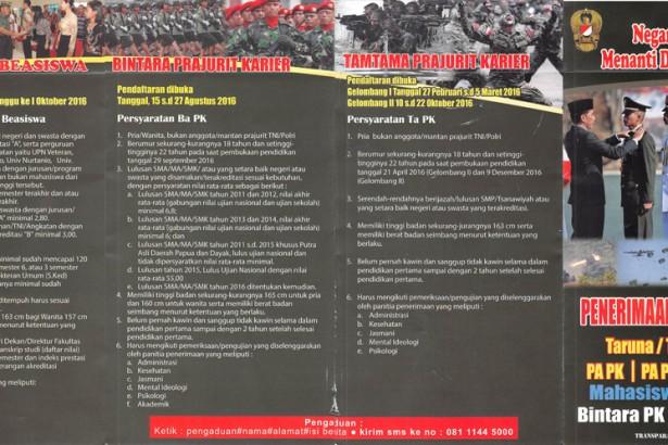 Penerimaan Prajurit TNI AD Tahun 2016